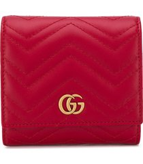 gucci small quilted gg wallet - red