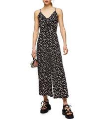 women's topshop floral tie front wide leg jumpsuit, size 12 us - black