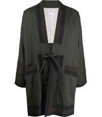visvim drop-shoulder tie-fastening jacket - green