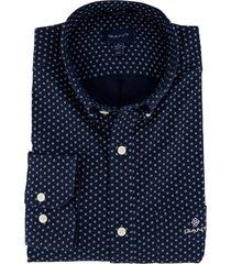 donkerblauw overhemd gant printje regular fit