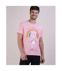 camiseta masculina pride ursinhos carinhosos manga curta gola careca rosa claro
