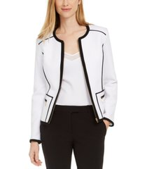 calvin klein petite pique piped zip-front jacket
