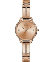 guess women's rose gold-tone stainless steel semi-bangle bracelet watch 30mm