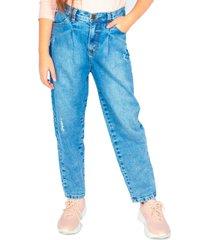 jeans slouchy cinturón lazo azul cacao