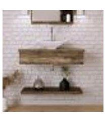 conjunto para banheiro bancada com cuba l38 folha e prateleira city 805 carvalho dark