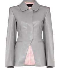 anouki faux leather blazer - grey
