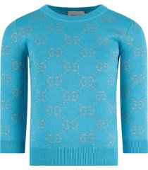 gucci light blue girl sweater with red iconic gg