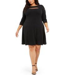 belldini plus size mesh-trim dress