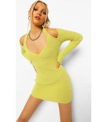 gebreide jurk met halter neck en duimgat, bright green