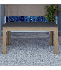 mesa de madeira 100% mdf retangular tm21 grafite/carvalho - dalla costa