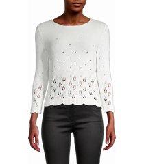 loro piana women's pointelle knit cashmere sweater - spring - size 42 (8)