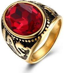 anello in acciaio inossidabile titanio placcato in oro vintage anello con gemma rossa incisa a forma di drago per lui