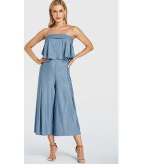 yoins light blue double layer plain strapless jumpsuit