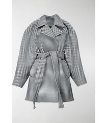 balenciaga houndstooth check belted coat