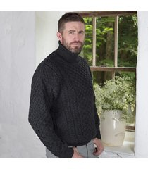 men's irish aran turtleneck sweater charcoal small