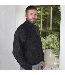 men's irish aran turtleneck sweater charcoal small