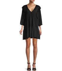 70/21 women's dot flounce dress - black - size m