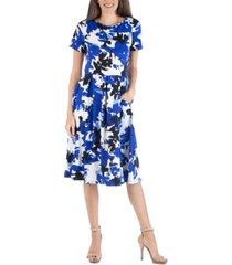24seven comfort apparel geometric painted short sleeve midi dress