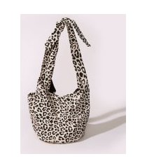 bolsa feminina bucket estampada animal print de onça bege