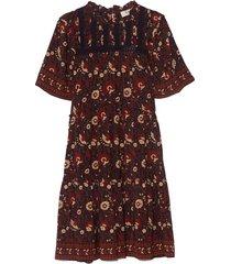 francesca print tiered tunic dress in purple