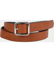 tommy hilfiger women's reversible square buckle belt brown - xs