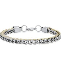 """anthony jacobs men's two-tone 18k goldplated & stainless steel wheat link bracelet/8.5"""""""