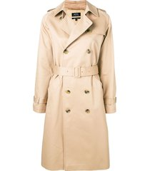 a.p.c. belted trench coat - neutrals