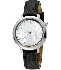 logo logomania stainless steel & leather strap watch