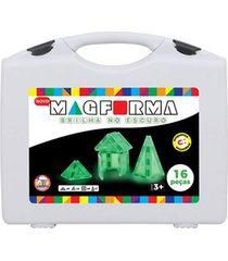 blocos magnéticos - magforma - brilha no escuro - maleta com 16 peças - acrílico - mfg18ch16 - branco