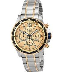 reloj dorado-plateado invicta 13976 -superbrands