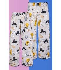 spodnie do spania dla pary piżama koty