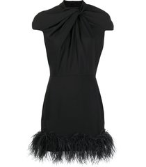 16arlington feather hem dress - black