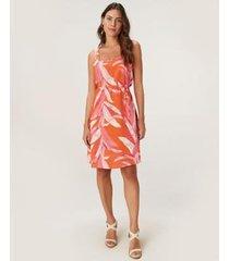 vestido evasê malwee tropical viscose feminino - feminino