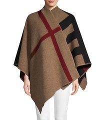 plaid wool & cashmere poncho