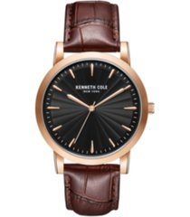 kenneth cole new york men's 3 hands slim rose-gold plated stainless steel watch on brown genuine leather strap, 44mm