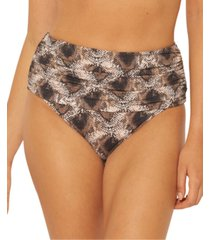 bleu by rod beattie python-print shirred high-waist bikini bottoms women's swimsuit