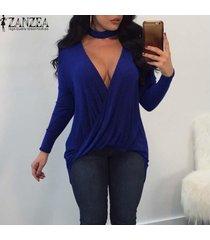 zanzea mujeres plunge cuello en v gargantilla abrigo blusa camiseta más el tamaño de tapa de la túnica -azul