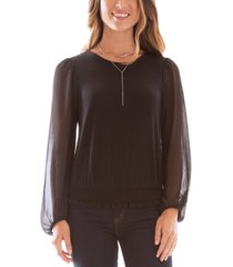 bcx juniors' balloon-sleeve necklace top