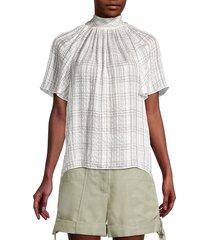 rebecca taylor women's jules plaid short-sleeve silk blouse - white - size 10