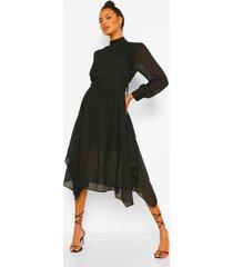 dobby midi jurk met hoge hals, black