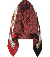 burberry archive scarf print oversized puffer cape - red
