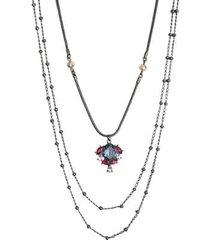 colar longo armazem rr bijoux cristais rosa e azul grafite - feminino