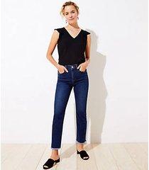 loft frayed high rise straight leg jeans in distressed mid indigo wash