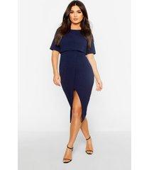 gelaagde wiggle midi-jurk in wikkelstijl, marineblauw