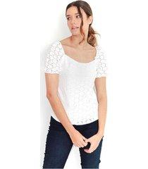 blusa color blanco, cuello redondo, manga corta y abultada color-blanco-talla-xl
