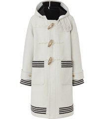 burberry hooded striped duffle coat - white
