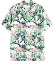 cubano shirt flamingo leaf print