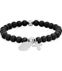 anthony jacobs men's stainless steel & lava beaded charm stretch bracelet