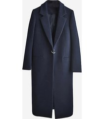 elegante cappotto a maniche lunghe a maniche lunghe blu scuro