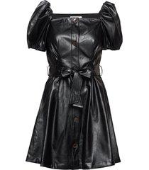 button detailed leather free leather dress kort klänning svart designers, remix